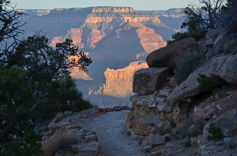 Grand Canyon Hiking trail in winter