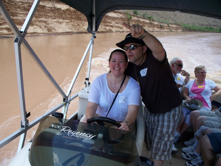 Colorado River by Boat on the Ultimate 4 in 1 Helicopter Tour