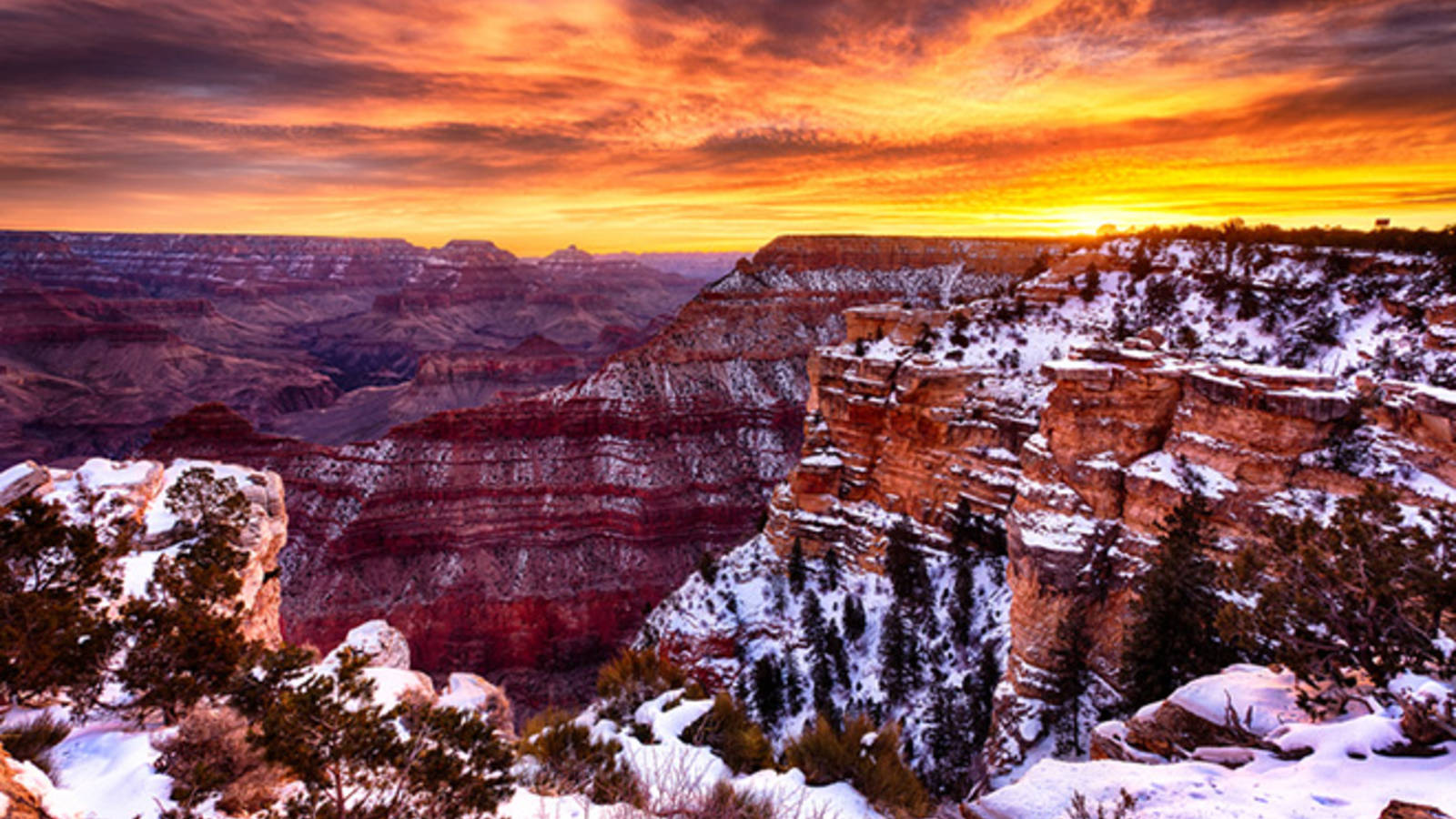 sunset at grand canyon in december