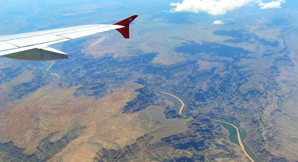 flying over grand canyon in plane