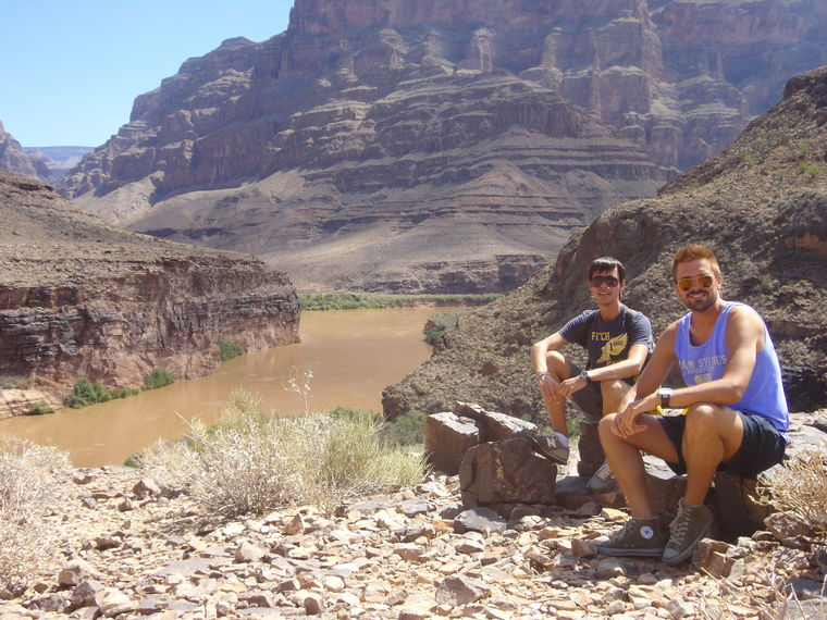 landing in the grand canyon by colorado river